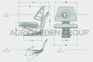 Sedile meccanico pvc universale con regolazione schienale in 5 posizioni per trattore