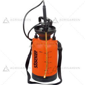 Pompa a pressione 5lt Stocker Art 254 arancione da 5 litri con tubo, lancia e tracolla.