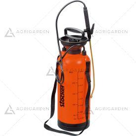 Pompa a pressione 8lt Stocker Art 256 arancione da 8 litri con tubo, lancia e tracolla.