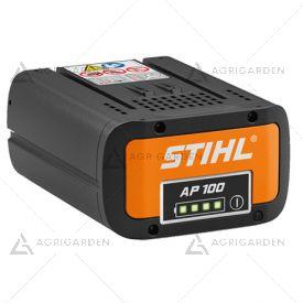 Batteria Stihl AP 100 agli ioni di litio da 94 Wh con indicatore dello stato di carica al LED.