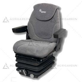 Sedile in tessuto grigio con molleggio meccanico e braccioli