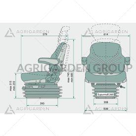 Sedile Grammer MSG 95g/721, tessuto nero, braccioli, regolazione peso, altezza, schienale trattore