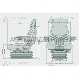 Sedile Grammer Maximo Dynamic DDS msg95al/7, poggiatesta, braccioli, sospensione pneumatica trattore