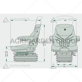 Sedile Grammer Maximo Comfort Plus MSG 95a/731, sospensione automatica, aps, braccioli per trattore
