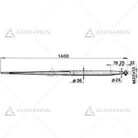Forca a punta conica 36x1400 completa di dado per caricatori di rotoballe