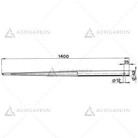 Forca a punta cilindrica 36x1400 tipo forato per caricatori di rotoballe