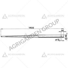 Forca a punta cilindrica 42x1400 tipo forato per caricatori di rotoballe