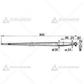 Forca a punta cilindrica 36x800 completa di dado per caricatori di rotoballe