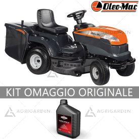 Trattorino rasaerba con raccolta OleoMac OM 84 / 14,5 K con motore da 432cm3 e larghezza di taglio da 84cm.