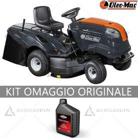 Trattorino rasaerba con raccolta OleoMac OM 93 / 16 K con motore da 452cm3 e larghezza di taglio da 92cm.