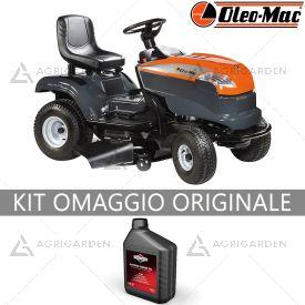 Trattorino rasaerba a scarico laterale OleoMac OM 98 L /14,5 K con motore da 432cm3 e larghezza di taglio da 98cm.