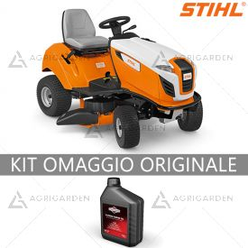 Trattorino rasaerba a scarico laterale Stihl RT 4097 SX con cambio idrostatico e motore Briggs&Stratton.