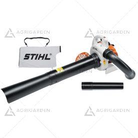 Aspiratore/trituratore a scoppio Stihl SH 56 molto leggero con sacco di raccolta da 45litri.