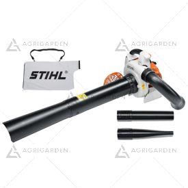 Aspiratore/trituratore a scoppio Stihl SH 86 molto potente per uso professionale con sacco di raccolta da 45 litri.